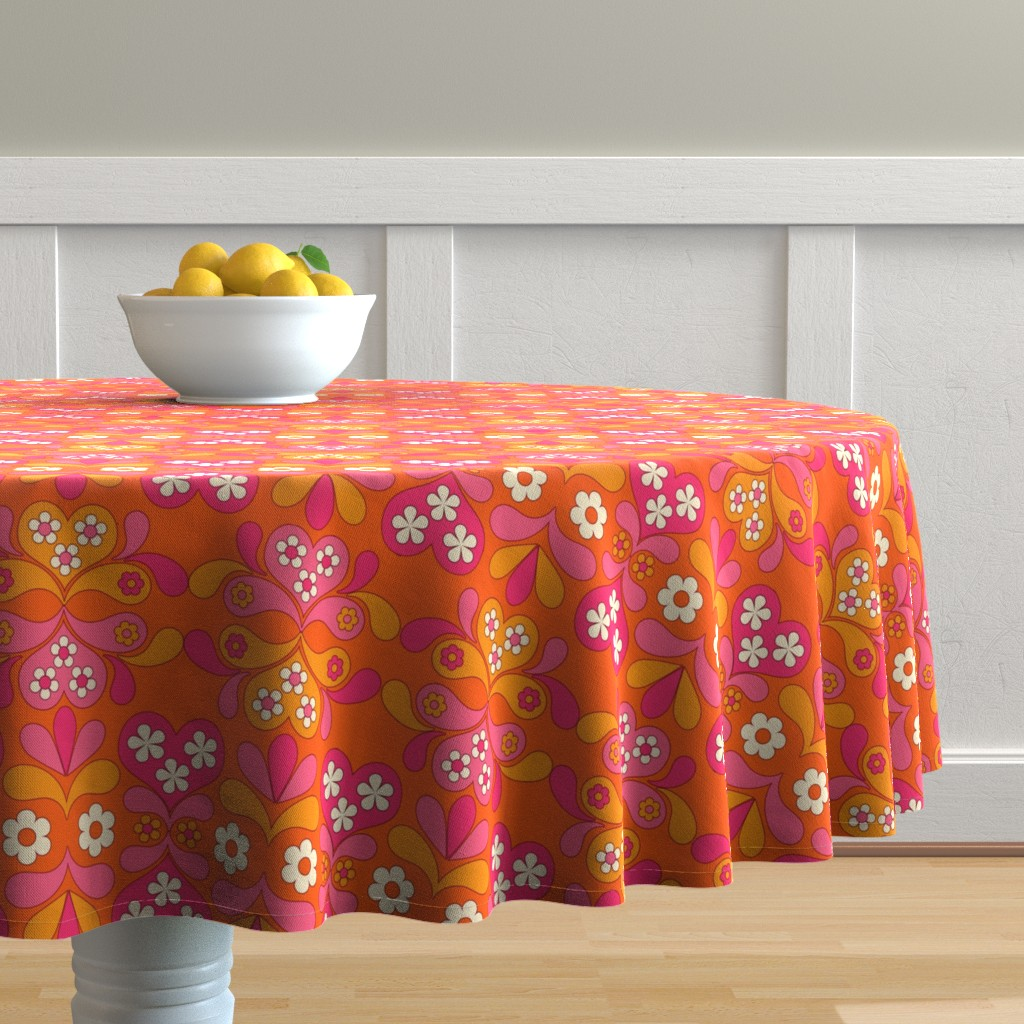 Malay Round Tablecloth featuring paisley heart orange by aliceapple