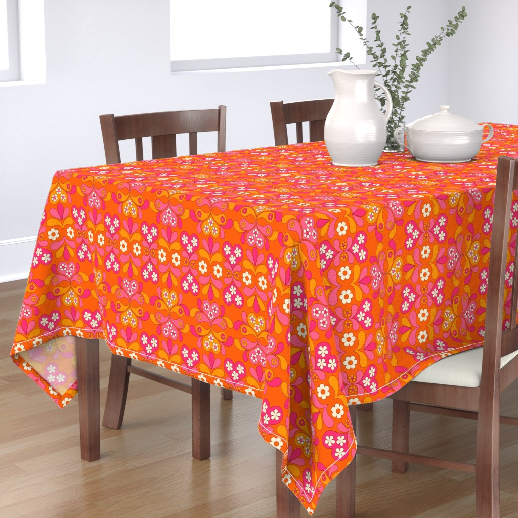 Bantam Rectangular Tablecloth featuring paisley heart orange by aliceapple