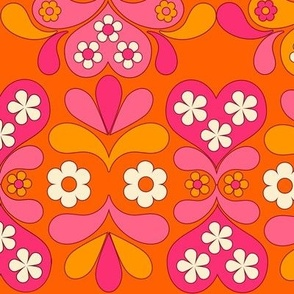 paisley heart orange