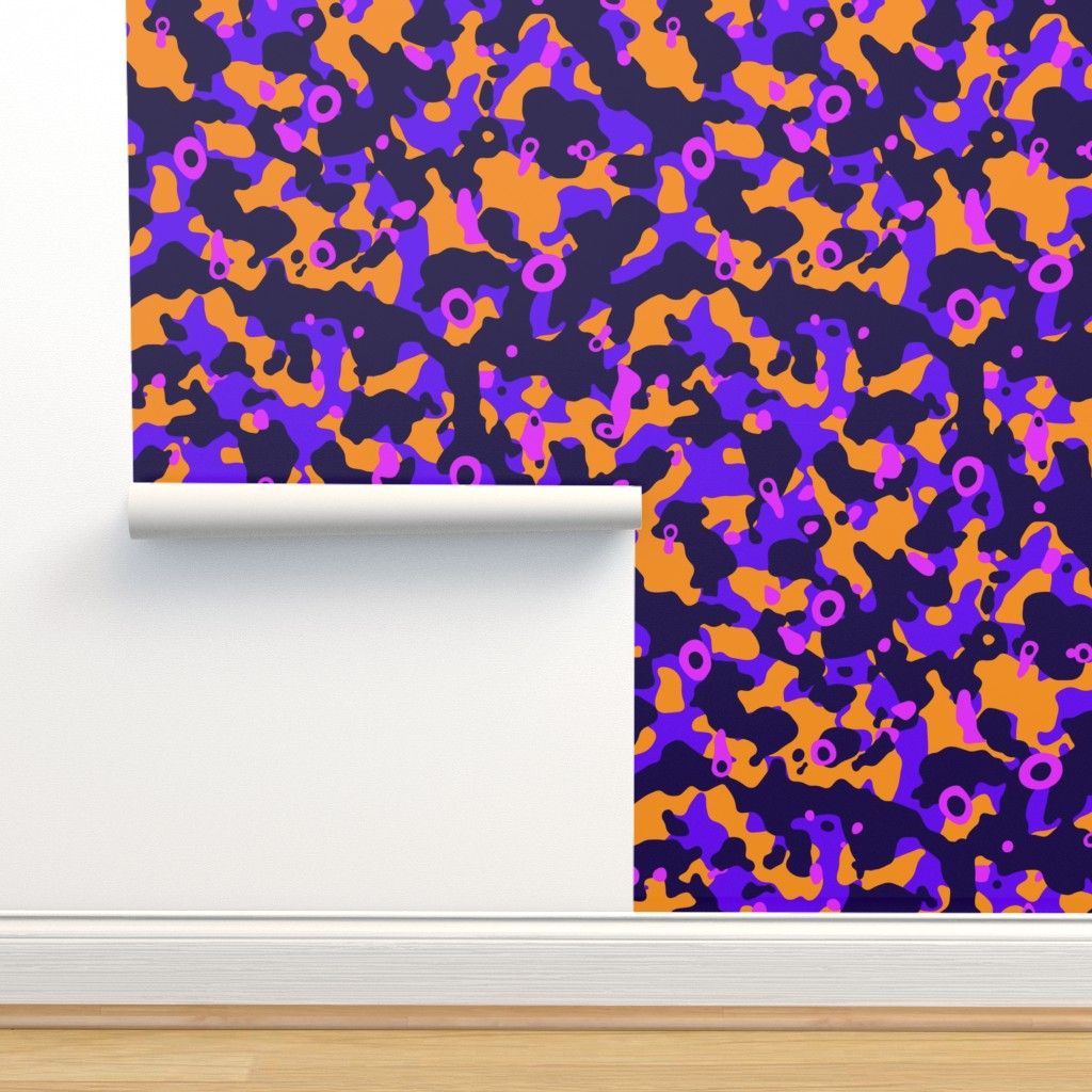 Isobar Durable Wallpaper featuring Colorful camouflage fabric pattern purple orange by danadu