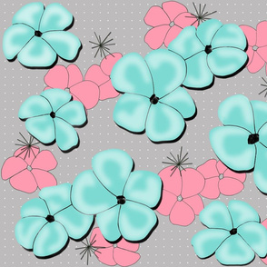 Painted Poppies Aqua and Rose on Gray