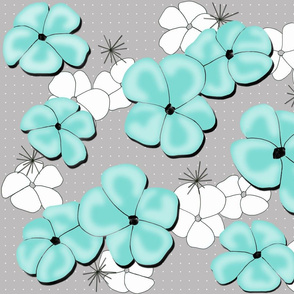 Painted Poppies Aqua and White on Gray