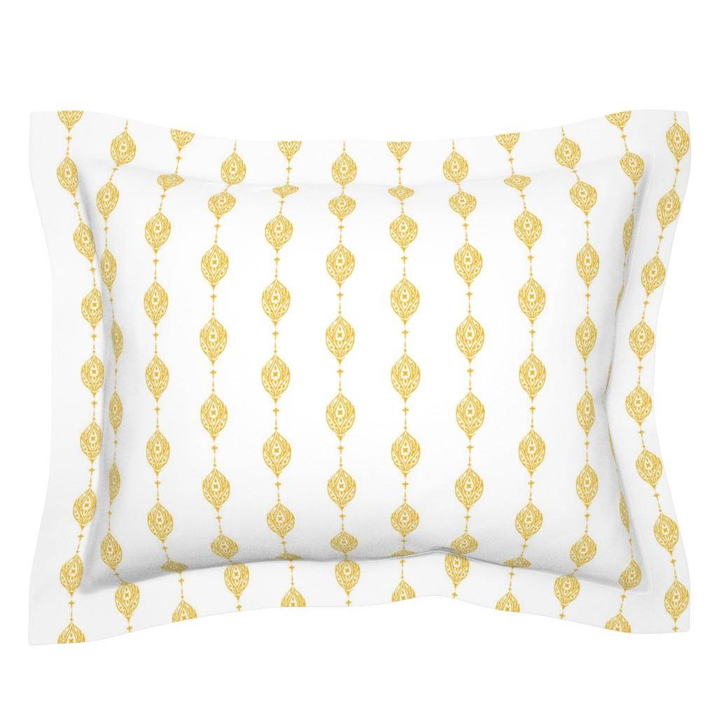Sebright Pillow Sham featuring Flower Chain Woodblock in Marigold by gigi&mae