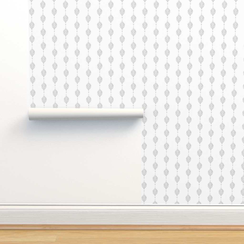 Isobar Durable Wallpaper featuring Flower Chain Woodblock in Oyster by gigi&mae