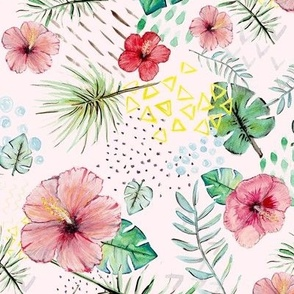 hawaiian watercolor pink