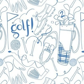 Golf pattern in blue and white