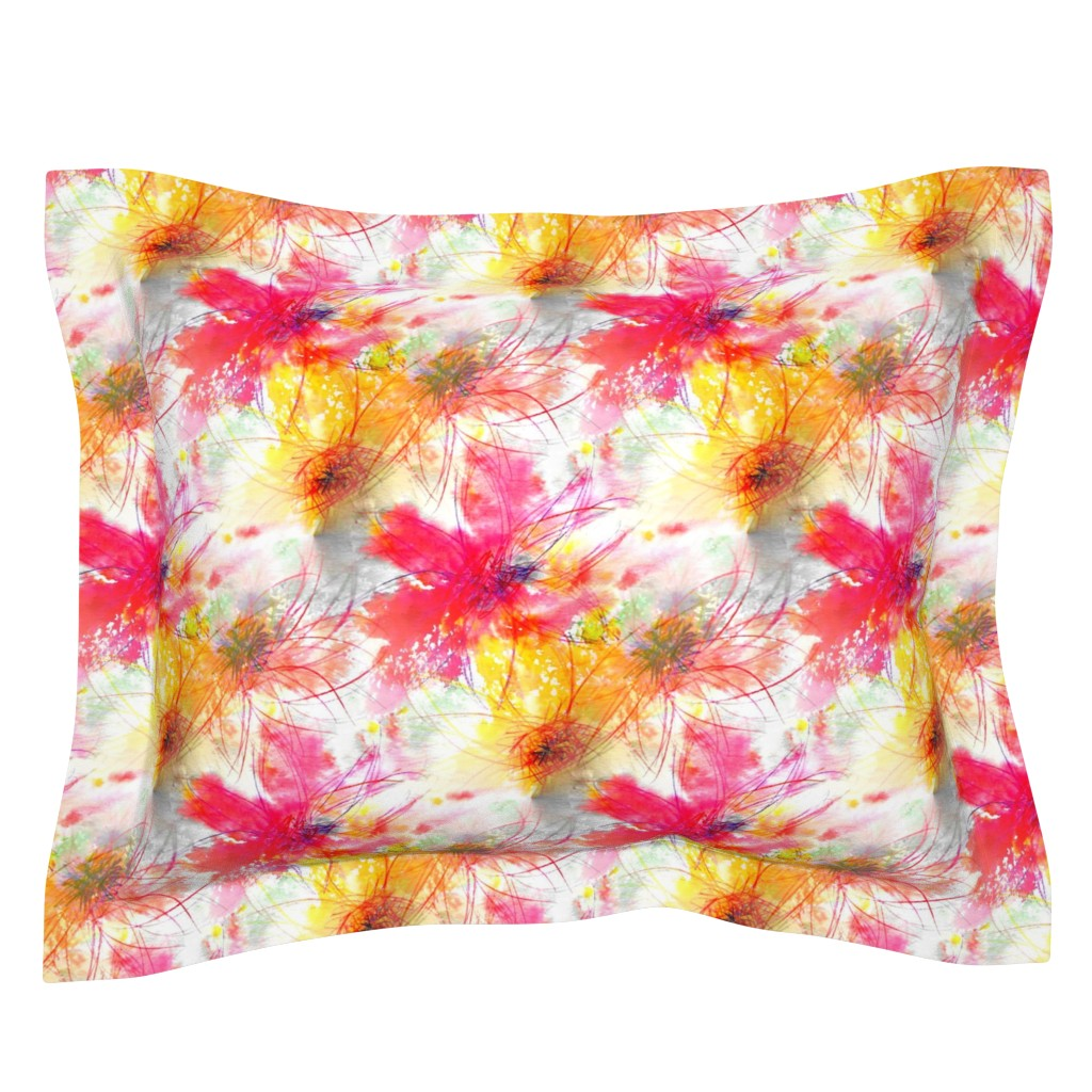 Sebright Pillow Sham featuring Wild Flowers - Extra Large by atlas_&_tootsie