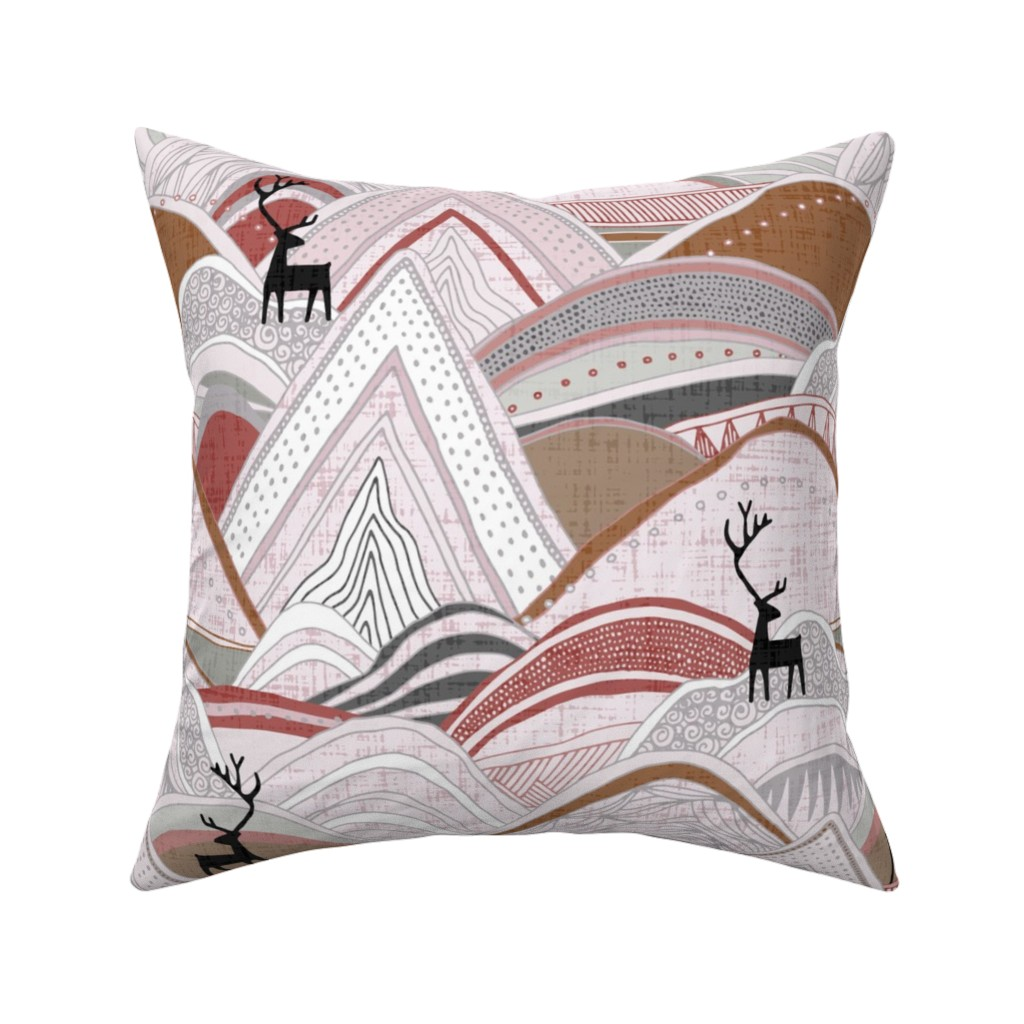 Catalan Throw Pillow featuring caribou mountains sienna large by scrummy