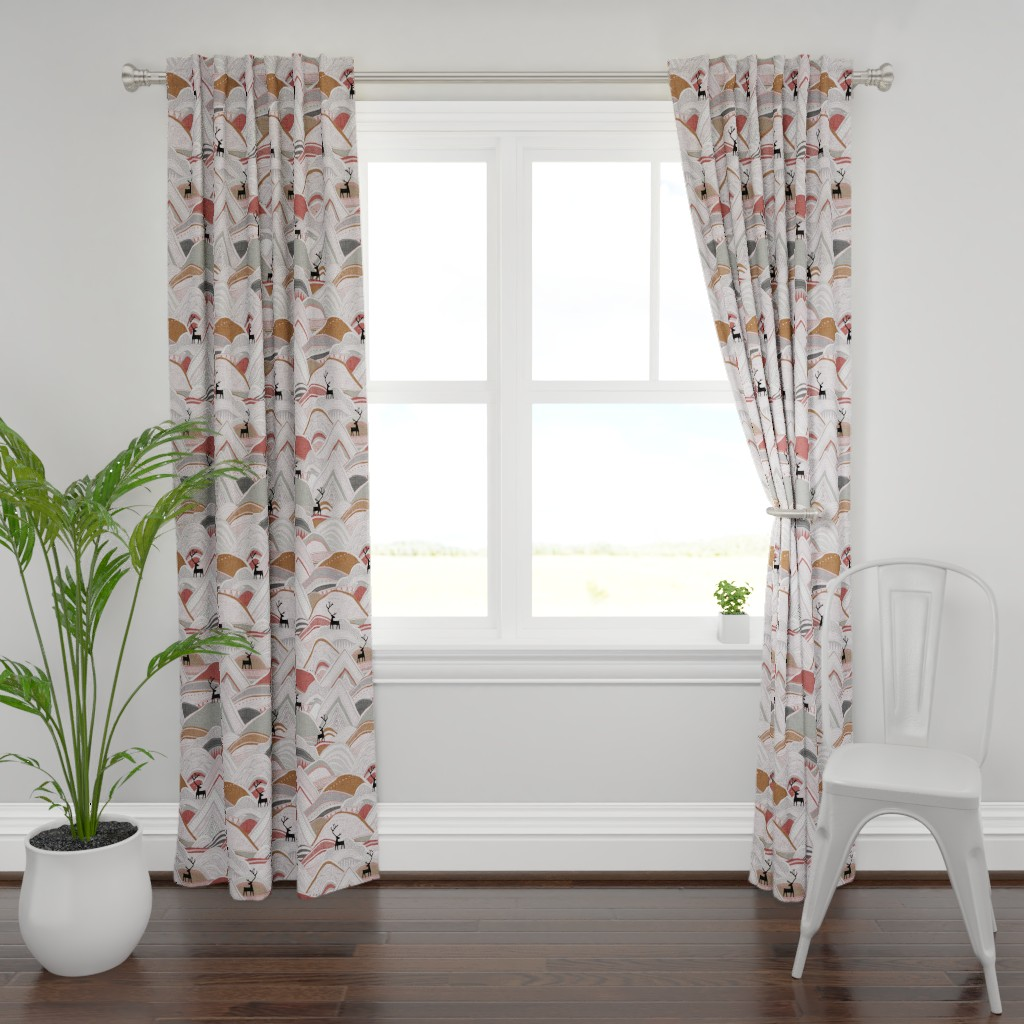 Plymouth Curtain Panel featuring caribou mountains sienna large by scrummy
