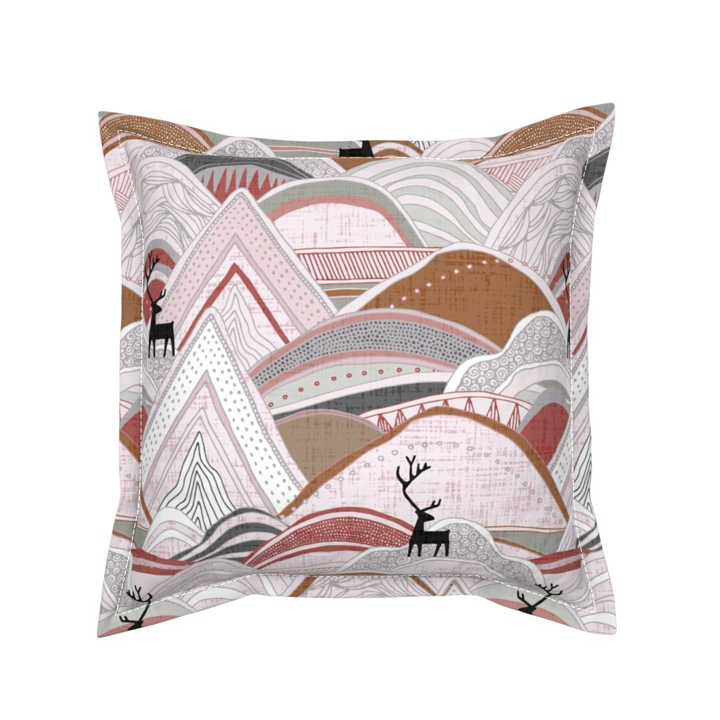 Serama Throw Pillow featuring caribou mountains sienna large by scrummy
