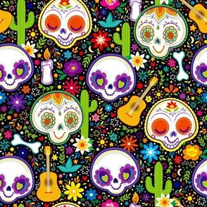 Day Of The Dead Pattern- Purple Larger Print