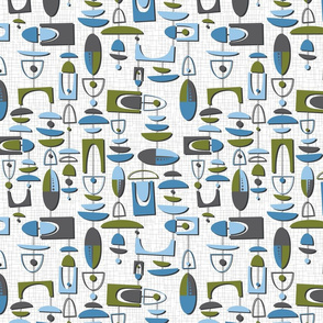 mid century motion - olive and blue on white