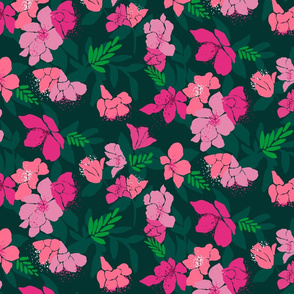 Pink and coral floral on dark green