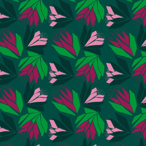 Bold, abstract green and pink floral on dark green