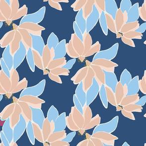 Serene bold, stylised floral on navy