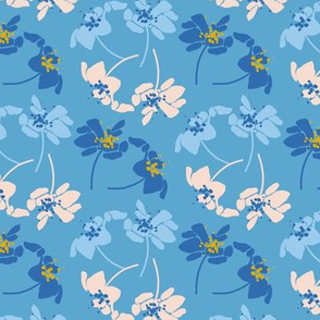 Organic, stylised blue and white flowers