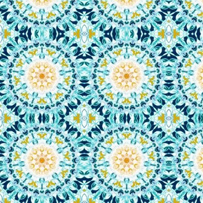 Symmetrical Mustard & Teal Mandala - Small