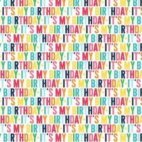 it's my birthday XSM rainbow with navy UPPERcase
