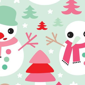 Colorful christmas theme with snowman and gingerbread man christmas trees and stars in mint and red JUMBO