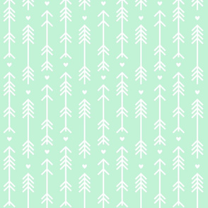 arrows and hearts ice mint green
