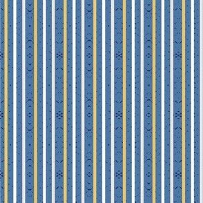 yellow and white stripes on blue small