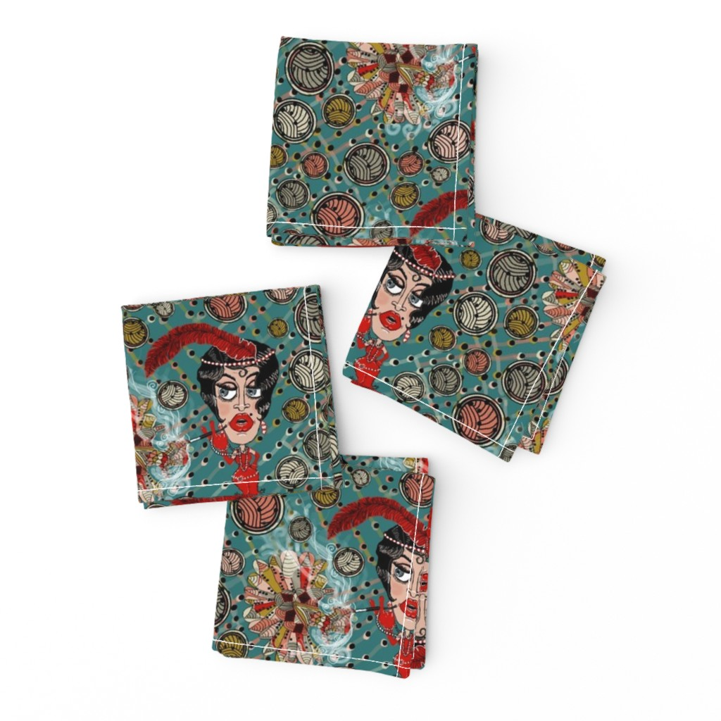 Frizzle Cocktail Napkins featuring art deco flapper fantasy, large scale, teal green blue red by amy_g