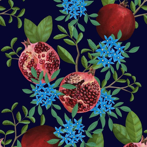 Pomegranate_Floral_With_Blue_Flowers