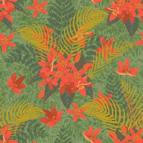 Red Exotic Floral with Background Texture