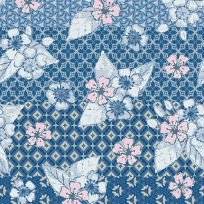 Cherry Blossom Pattern Stripe