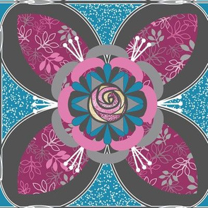 Quilt Square Tile, Rose and Leaf Quatrefoil in Fuchsia Pink, Charcoil Gray, Blue