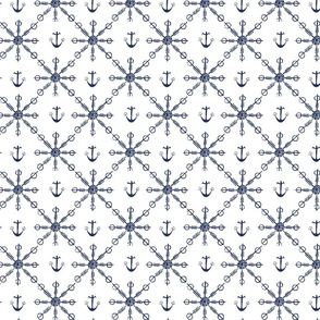 blue heart anchors and snowflakes – small scale