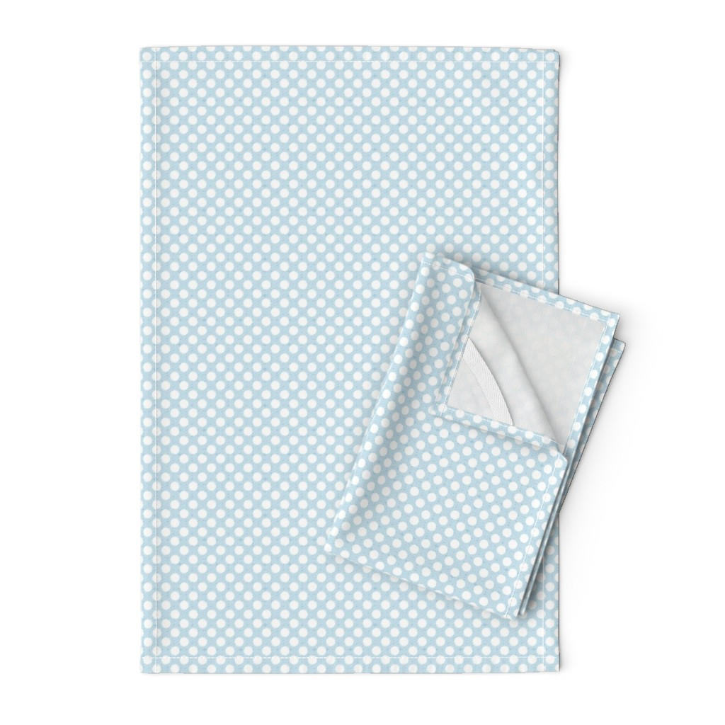 Orpington Tea Towels featuring polka dots light blue, small scale by colorofmagic