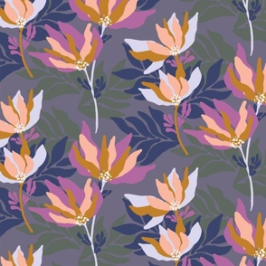 Organic layered floral on a dusty purple base
