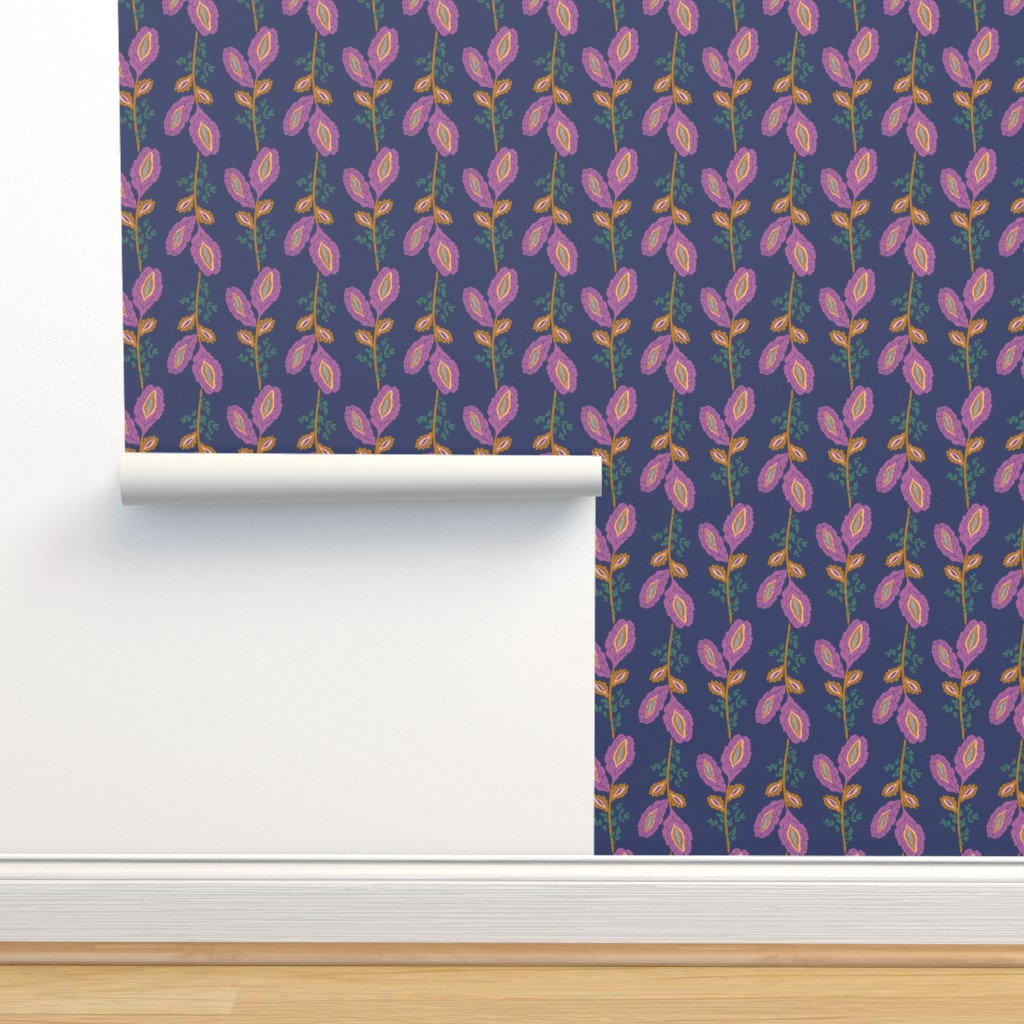 Contemporary Floral Stripe On Navy On Isobar By Patternanddesign