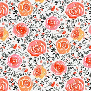 Orange, Red & Grey Watercolor Roses - Small