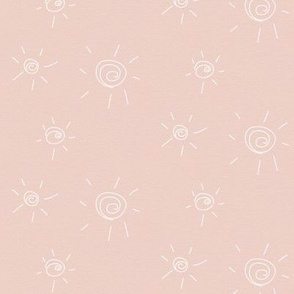hand drawn sun - pastel pink