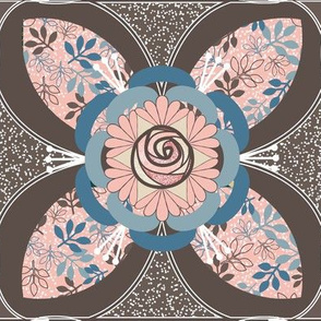 Quilt Square Tile, Brown, Peach, Blue Rose and Leaves Quatrefoil