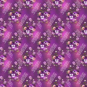 Pansy Retro Floral Plum Glow