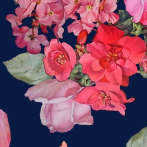 Vintage Roses // navy (Large)
