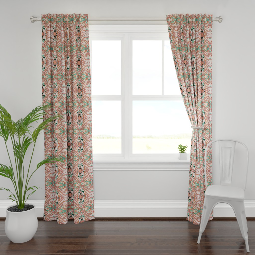 Plymouth Curtain Panel featuring Mock Floral Blush Abstract Gem Vibration Pattern by pissykrissy