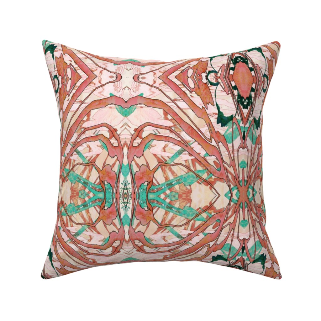Catalan Throw Pillow featuring Mock Floral Blush Abstract Gem Vibration Pattern by pissykrissy