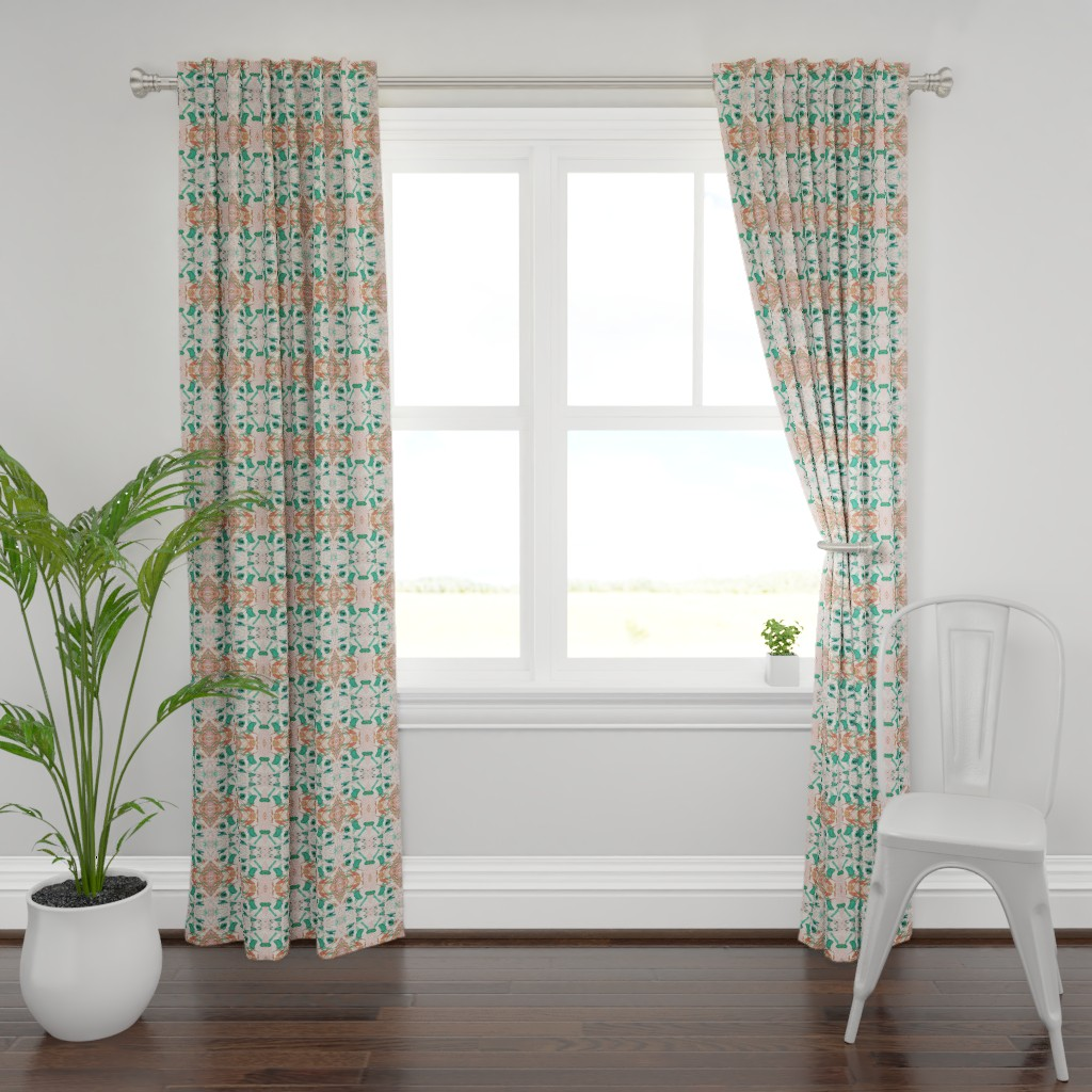 Plymouth Curtain Panel featuring Mock Floral Blush Abstract Double Diamond Pattern by pissykrissy