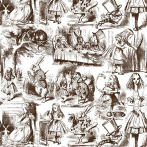 Alice in Wonderland Toile du Jouy Chocolate Brown and White from Eclectic at HeART