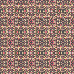 floral in warm colors gray background