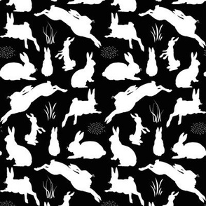 Rabbit Silhouettes   Black and White