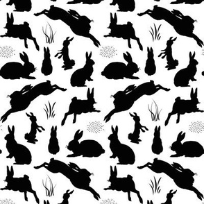 Rabbit Silhouettes | Black and White