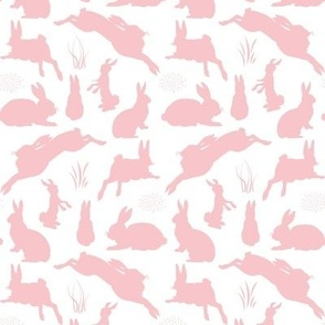 Rabbit Silhouettes | Pink and White