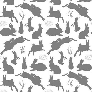 Rabbit Silhouettes | Grey and White