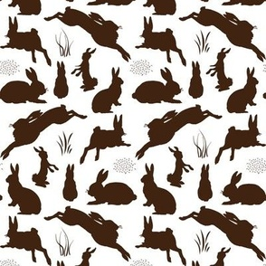 Rabbit Silhouettes | Chocolate Brown and White