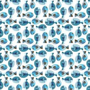 blue collage fish